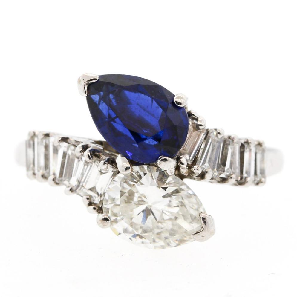 Modern Platinum Sapphire Diamond Bypass Ring