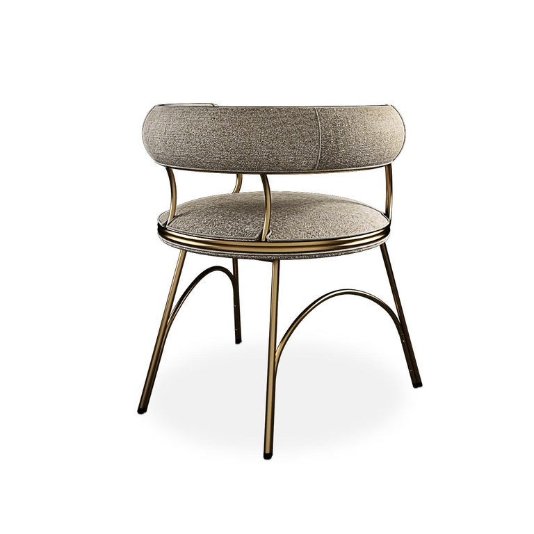 Portuguese Modern Polished Brass Austin Dining Chair Dobby Textile For Sale