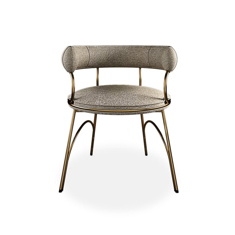 Modern Polished Brass Austin Dining Chair Dobby Textile In New Condition For Sale In RIO TINTO, PT