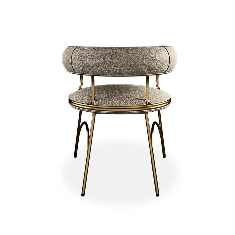 Contemporary Modern Polished Brass Austin Dining Chair Dobby Textile For Sale