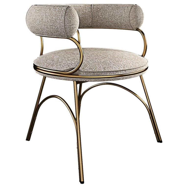 Modern Polished Brass Austin Dining Chair Dobby Textile For Sale