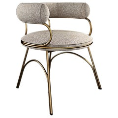 Modern Polished Brass Austin Dining Chair Dobby Textile