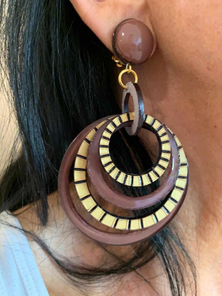 Contemporary Modern Architectural Brown Hoop Statement Earrings For Sale