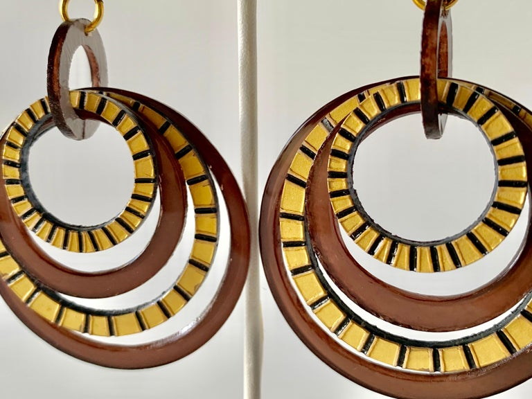 Modern Architectural Brown Hoop Statement Earrings For Sale 3