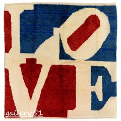Modern Pop Art LOVE Rug, Hand Knotted, 100% Wool, Custom Options Available