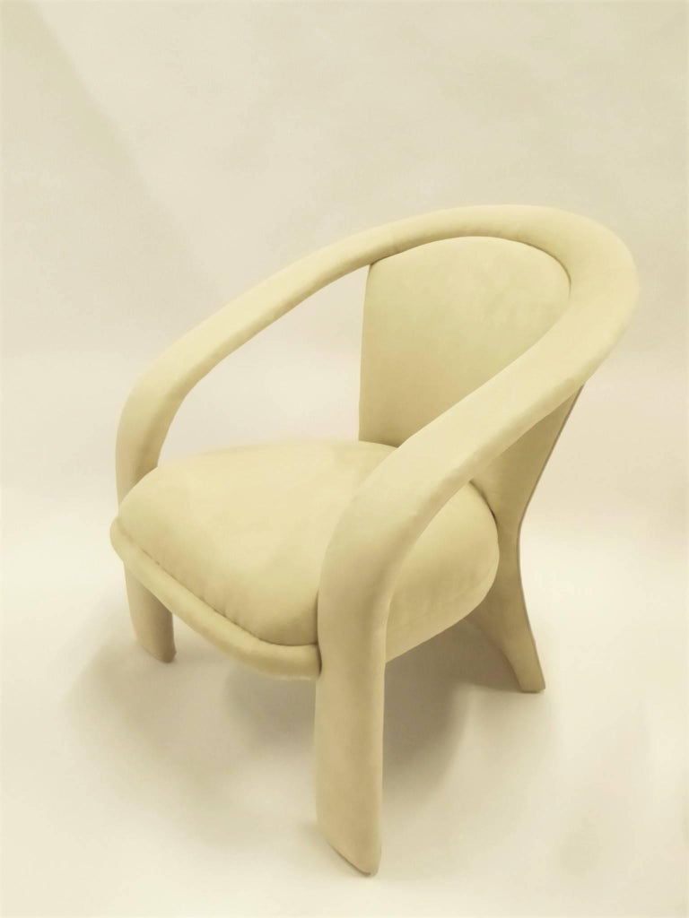 Modern Pop Lounge Chairs by Carsons in Ultrasuede For Sale 3
