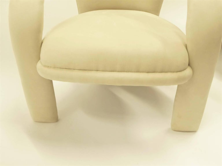 Modern Pop Lounge Chairs by Carsons in Ultrasuede For Sale 4