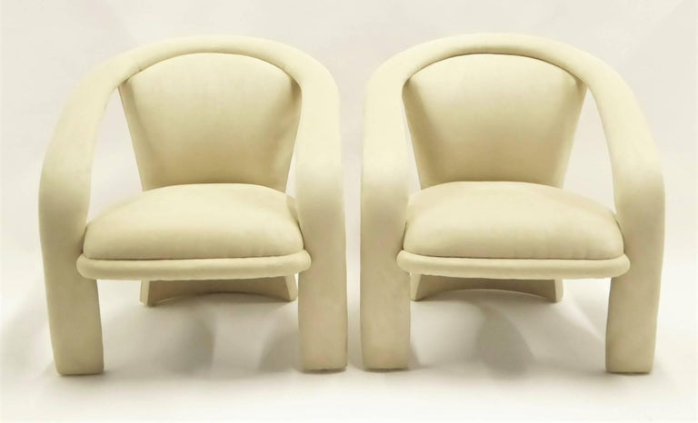 American Modern Pop Lounge Chairs by Carsons in Ultrasuede For Sale