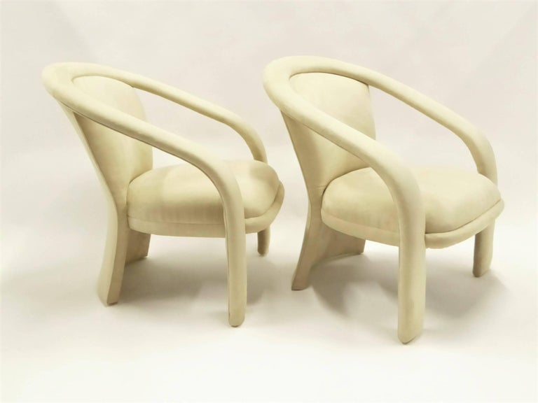 Modern Pop Lounge Chairs by Carsons in Ultrasuede In Excellent Condition For Sale In Miami, FL