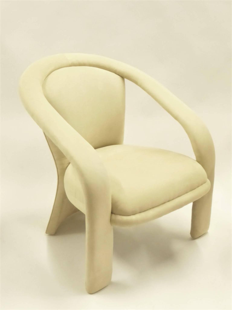 Modern Pop Lounge Chairs by Carsons in Ultrasuede For Sale 1