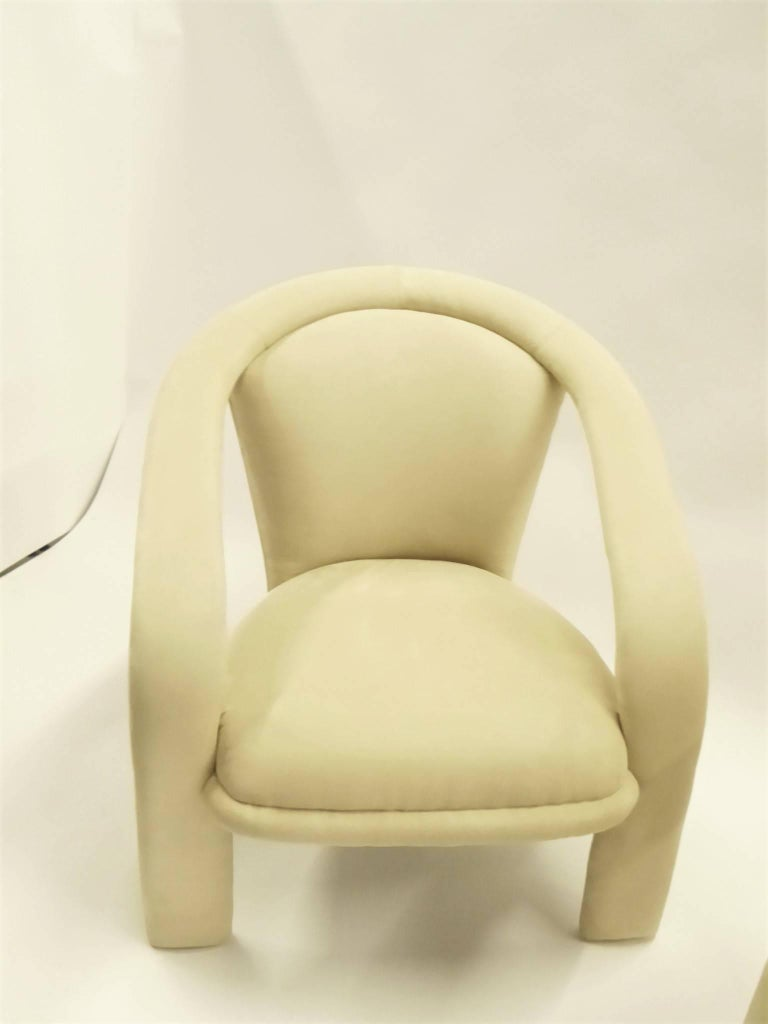 Modern Pop Lounge Chairs by Carsons in Ultrasuede For Sale 2