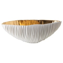 Modern Porcelain Oval Bowl Gold Sea Shell Hand-Painted White Ceramic Italy Fos