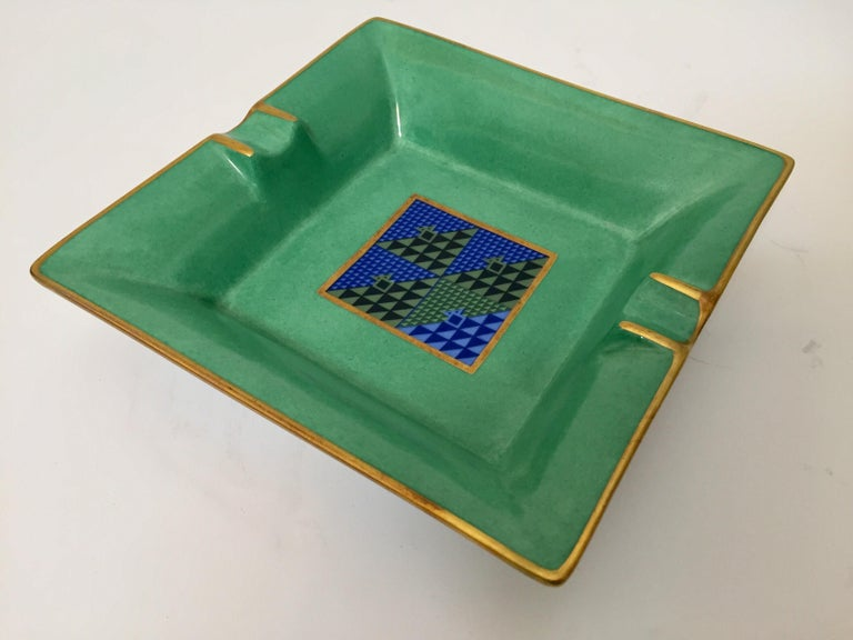 Modern Porcelain Square Green and Gold  Ashtray Limoges, France For Sale 3
