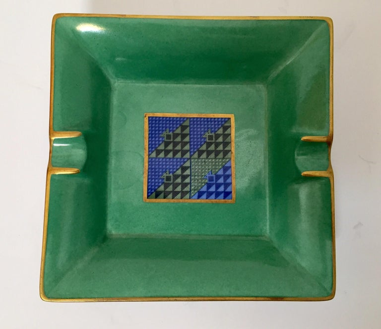 Modern Porcelain Square Green and Gold  Ashtray Limoges, France For Sale 5