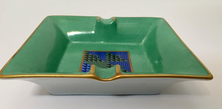 Bauhaus Modern Porcelain Square Green and Gold  Ashtray Limoges, France For Sale