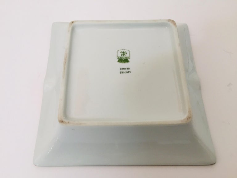 Modern Porcelain Square Green and Gold  Ashtray Limoges, France In Good Condition For Sale In Los Angeles, CA