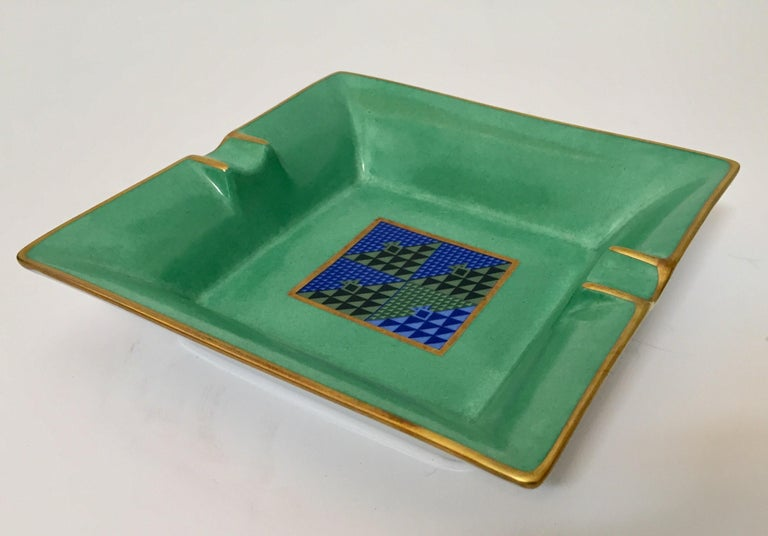 Modern Porcelain Square Green and Gold  Ashtray Limoges, France For Sale 1