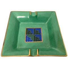 Modern Porcelain Square Green and Gold  Ashtray Limoges, France