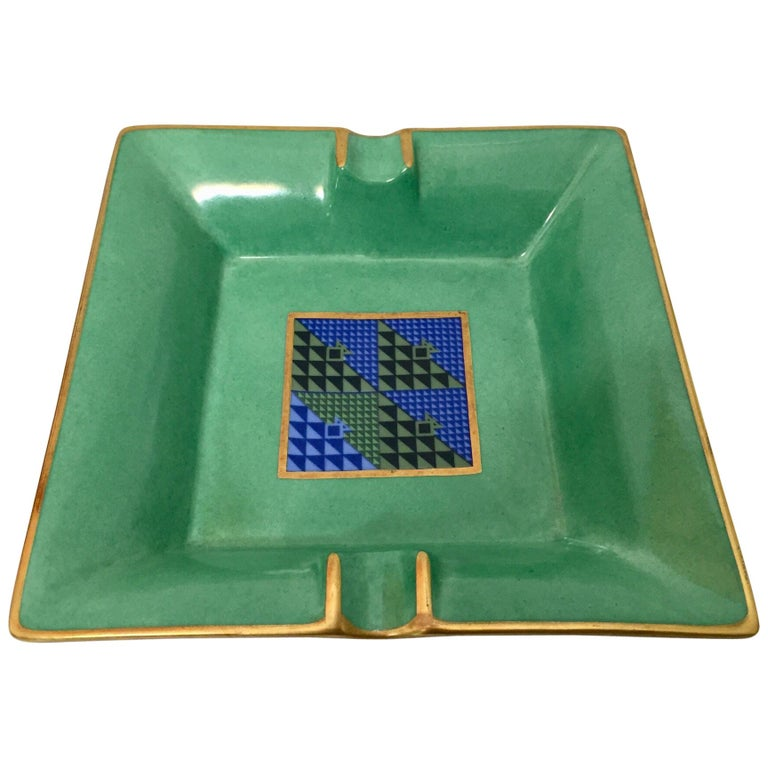 Modern Porcelain Square Green and Gold  Ashtray Limoges, France For Sale