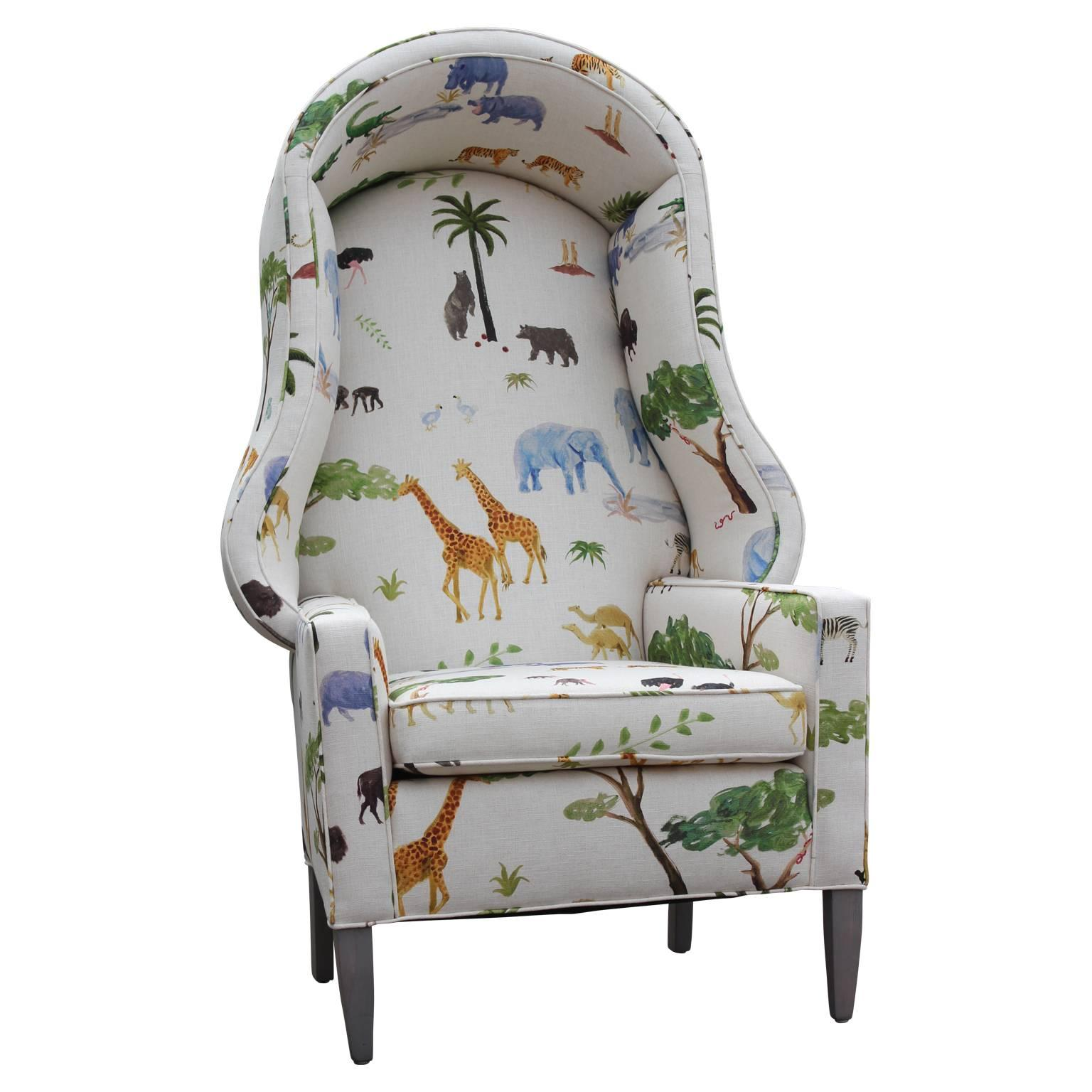 Pleasing Modern Porters Chair In The Style Of Baker Furniture In Safari Animal Print Cjindustries Chair Design For Home Cjindustriesco
