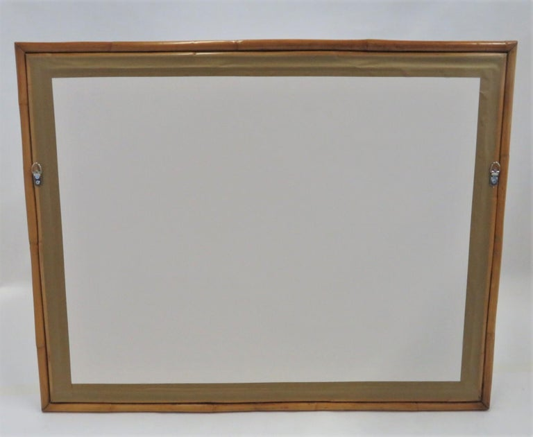 Modern Post-Impressionist Painting Ships in New York Harbor Rattan Frame, 1950s For Sale 4