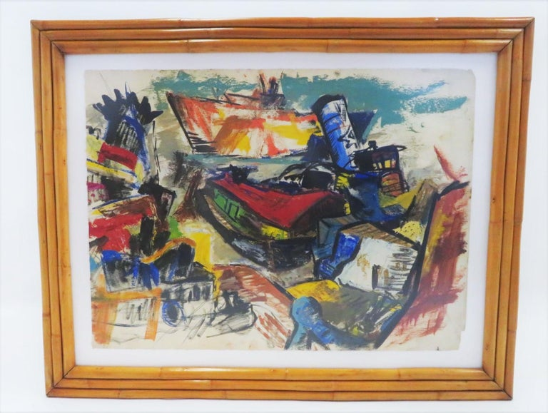 Large Mid-Century Modern post-impressionist painting by an anonymous and accomplished New York artist from the 1950s. The painting depicts a collage of ships in a New York harbor setting which includes a large ocean liner, a couple of tug boats, a