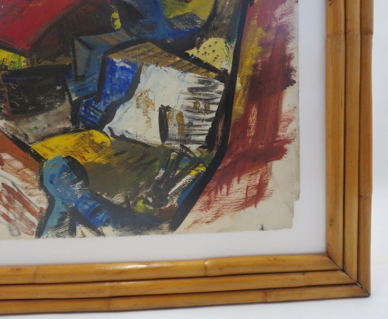 Modern Post-Impressionist Painting Ships in New York Harbor Rattan Frame, 1950s For Sale 1