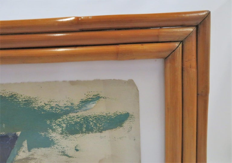Modern Post-Impressionist Painting Ships in New York Harbor Rattan Frame, 1950s For Sale 2