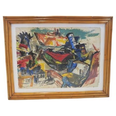 Modern Post-Impressionist Painting Ships in New York Harbor Rattan Frame, 1950s