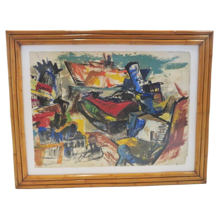 Modern Post-Impressionist Painting Ships in New York Harbor Rattan Frame, 1950s For Sale