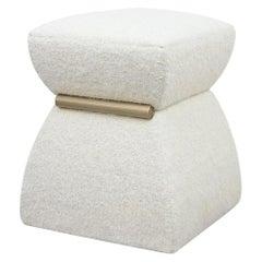 Modern Pouf 'Cusi' in White Mohair