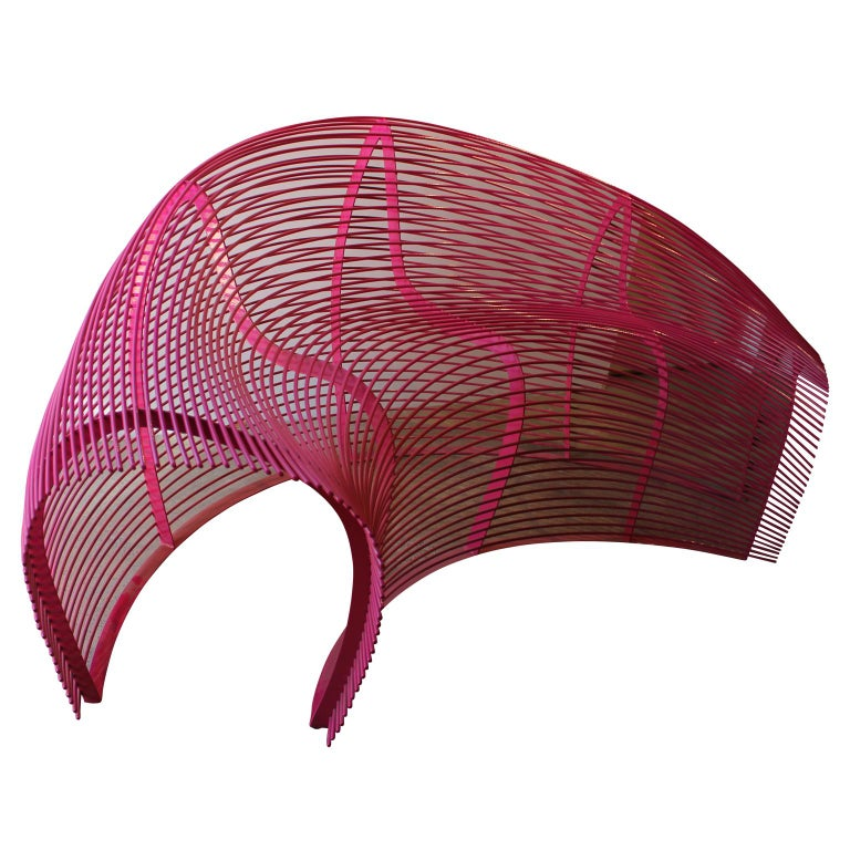 American Modern Powder Coat Hot Pink Indoor Outdoor Curved Wire Sofa Paralounger For Sale