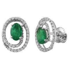 Modern Precious 0.88 Carat Emerald Diamond White Gold Every Day Stud Earrings