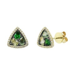Modern Precious Diamond Green Sapphire Quartz Tsavorite Yellow Gold Earrings
