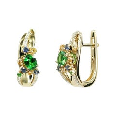 Modern Precious Diamond Tsavorite Yellow / Blue Sapphire Yellow Gold Earrings