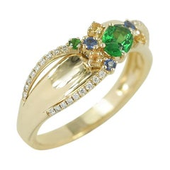 Modern Precious Diamond Tsavorite Yellow / Blue Sapphire Yellow Gold Ring
