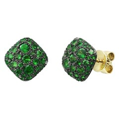 Modern Precious Diamond Tsavorite Yellow Gold Earrings