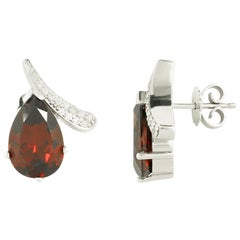Modern Precious Garnet Diamond Fabulous White Gold Earrings