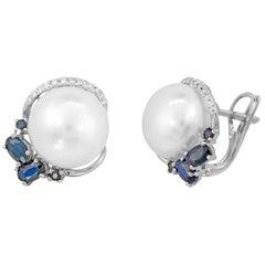 Modern Precious Pearl Diamond Blue Sapphire White Gold Earrings