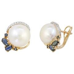 Modern Precious Pearl Diamond Blue Sapphire Yellow Gold Earrings