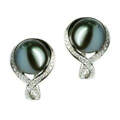 Modern Precious Pearl Diamond Fabulous White Gold Earrings