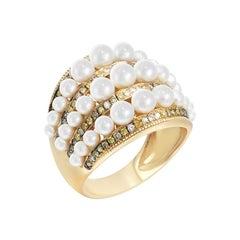 Modern Precious Pearl Diamond Fabulous Yellow Gold 18 Karat Ring