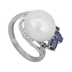 Modern Precious Pearl White Diamond Blue Sapphire White Gold Ring