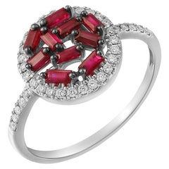 Modern Precious Ruby White Diamond Fabulous Chick White Gold Every Day Ring