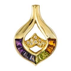 Modern Precious Stones 18 Karat Yellow Gold Pendant