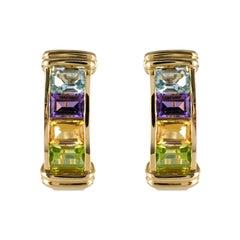 Modern Precious Stones 18 Karat Yellow Gold Stud Earrings
