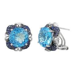 Modern Precious Topaz Blue Sapphire Fabulous White Gold Earrings