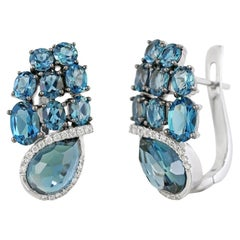 Modern Precious Topaz Diamond Fabulous White Gold Earrings