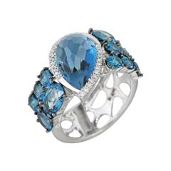 Modern Precious Topaz Diamond Fabulous White Gold Ring