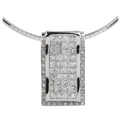 Modern Princess Diamond 18K Gold Slide Pendant Necklace